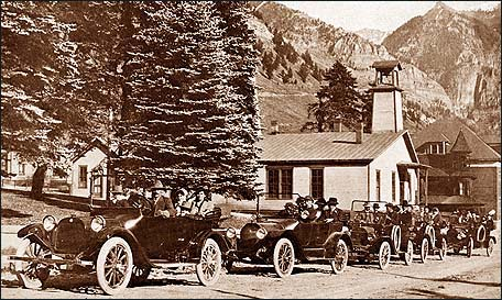 Town Hall with Old Cars